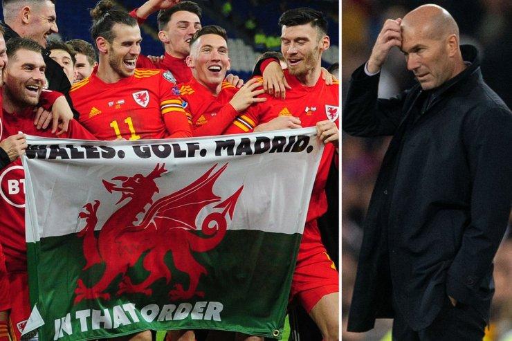 Игроки сборной Уэльса и Зидан